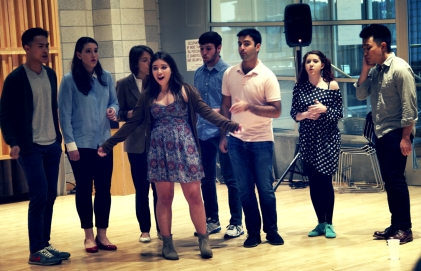 Columbia Clefhangers performed an a capella set at the launch.