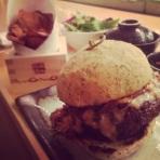 Morimoto: Dry aged burger with miso Russian dressing, sake kasu soba ale cheese, soy-ginger shiitakes on a house made nori bun
