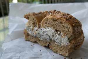A toasted whole wheat everything bagel with herb Tofutti (non-dairy cream cheese) from Absolute Bagels, located at 2788 Broadway between 107th and 108th streets.